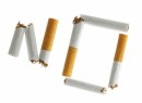 "Word ""NO""  made from broken cigarettes isolated over whte background"